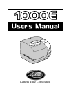 Lathem 1000E Operation & User's Manual 31 pages
