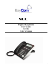 NEC SV-8100 Operation & User's Manual 21 pages
