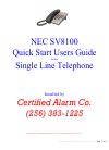 NEC SV-8100 Quick Start User Manual 4 pages