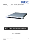 NEC Express 5800 Product Manual 20 pages