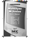 NEC MultiSync M500 Operation & User's Manual 20 pages