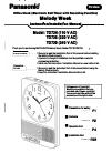 Panasonic Melody Week Instruction & Installation Manual 40 pages