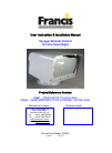Francis Voyager User Instruction & Installation Manual 21 pages