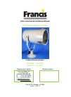Francis L230 LED User Instruction & Installation Manual 13 pages